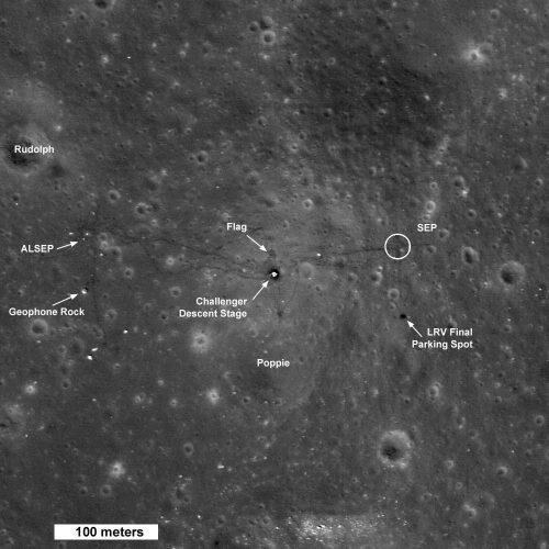 Apollo 17 landing site, as seen by LRO. Credit: Credit: NASA/GSFC/Arizona State University