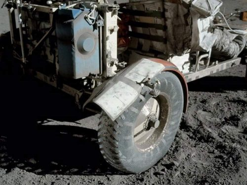 After a mishap with the original fender, the crew had to create a replacement using laminated maps and duct tape. Credit: NASA