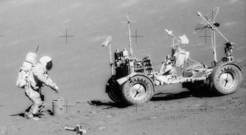 Gene Cernan deploys the traverse gravimeter experiment during his third Moon-walk. Credit: NASA